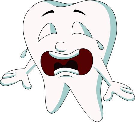 diente caricatura: Diente de dibujos animados linda que grita