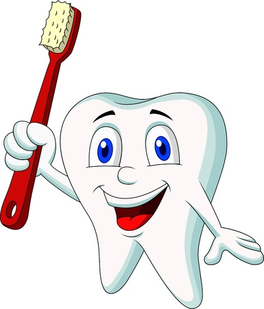 Cute tooth cartoon holding tooth brush Illustration