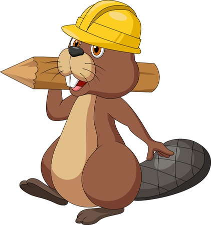 Cute cartoon beaver cartoon wearing safety hat and holding a wood log