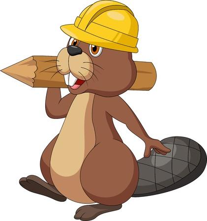 Leuke cartoon beaver cartoon draagt veiligheid hoed en houden een houten log Vector Illustratie