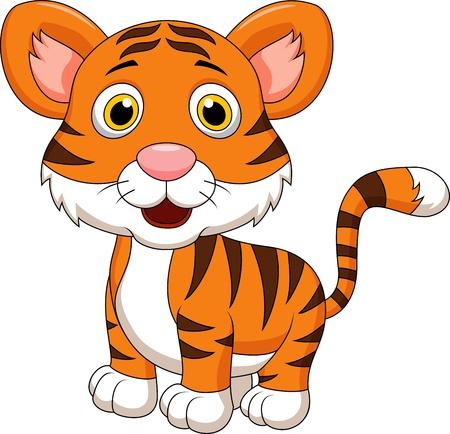 cute creature: Cute baby tiger cartoon