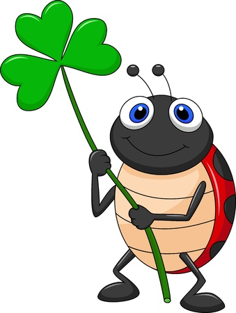 ladybird: Cute ladybug cartoon with clover leaf Illustration
