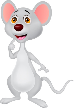 hand showing thumbs up: Cute mouse cartoon Illustration