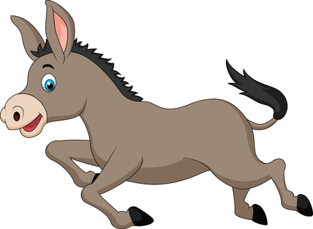 fairytale: Cute donkey cartoon running Illustration