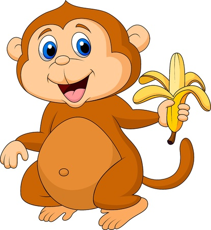 thumping: Cute monkey cartoon eating banana