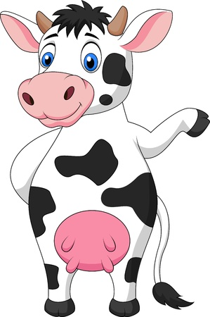 udder: Cute cow cartoon waving hand Illustration