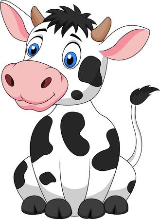 milchkuh: Nette Kuh-Cartoon sitzt