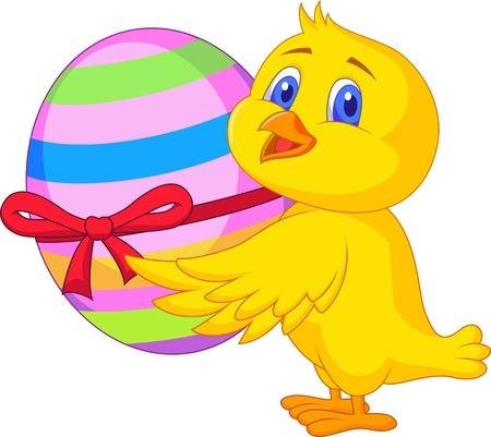 Cute chicken cartoon with easter egg Vector