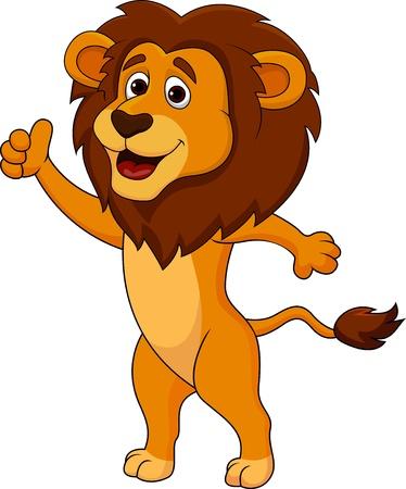 Lion mignon dessin animé pouce vers le haut Vecteurs