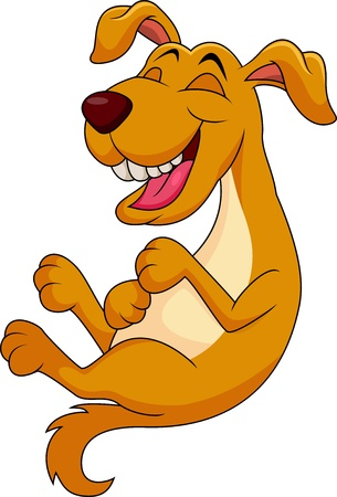laugh: Cute dog cartoon laughing Illustration