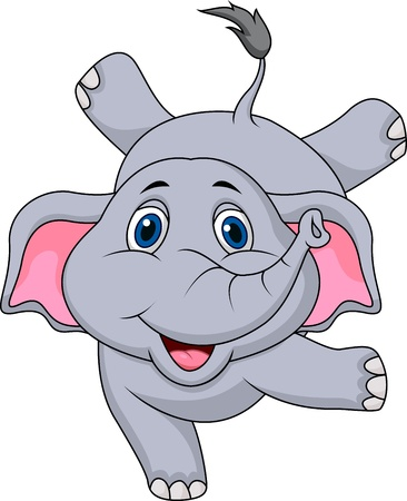performing: Cute elephant cartoon circus