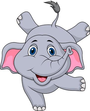 pink elephant: Cute elephant cartoon circus