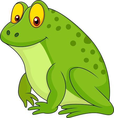 лягушка: Симпатичные зеленая лягушка мультфильм