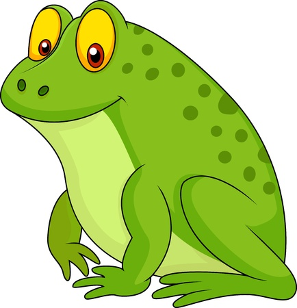 frog illustration: Cute green frog cartoon