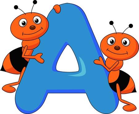 hormiga caricatura: Alfabeto A con hormiga de la historieta