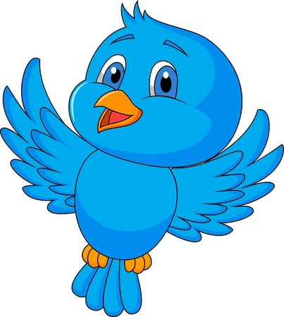 bird drawing: Cute blue bird cartoon