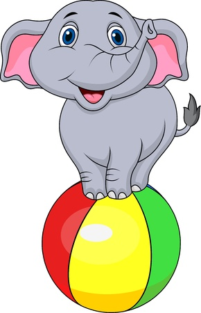 elephant trunk: Cute elphant cartoon standing on a colorful ball Illustration