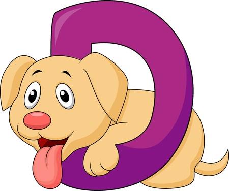 dog sled: Alphabet D with Dog cartoon