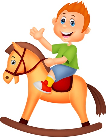 Cartoon boy riding a horse toy Vector