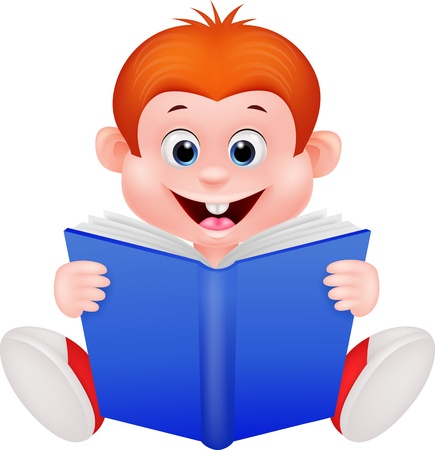 Cartoon boy reading a book Stock Vector - 19119648