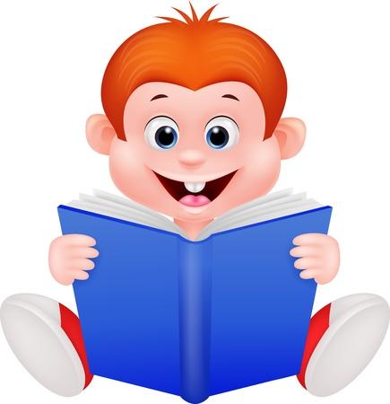 stories: Cartoon boy reading a book