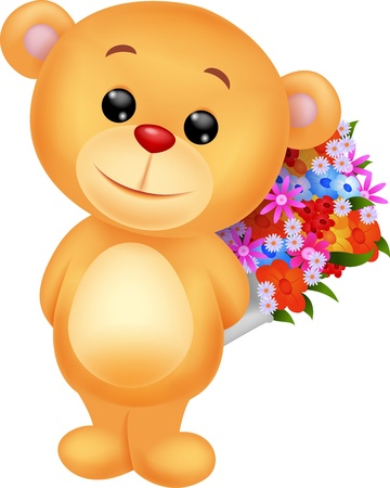 Cute bear cartoon holding flower bucket Illustration