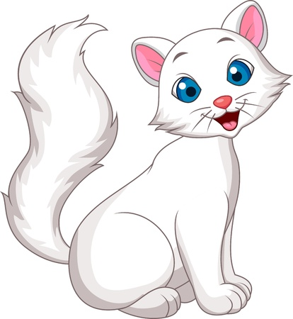 pussy hair: Cute white cat cartoon sitting Illustration