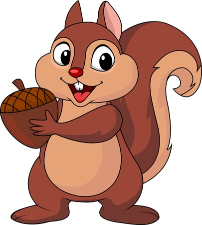 squirrel isolated: Squirrel cartoon with nut