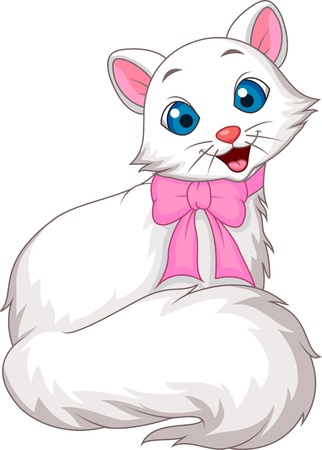 Cute white cat cartoon