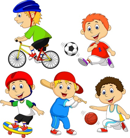 basket ball: Funny boy cartoon character doing sport