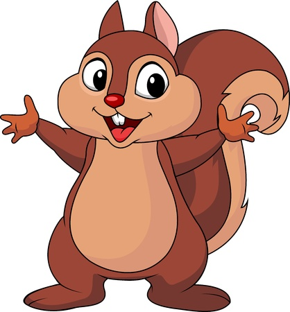 isolated squirrel: Squirrel cartoon waving hand