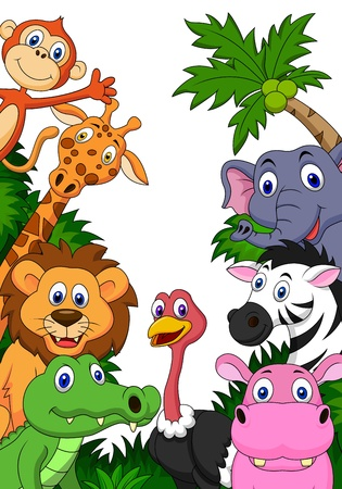 safari animals: Safari animal cartoon background