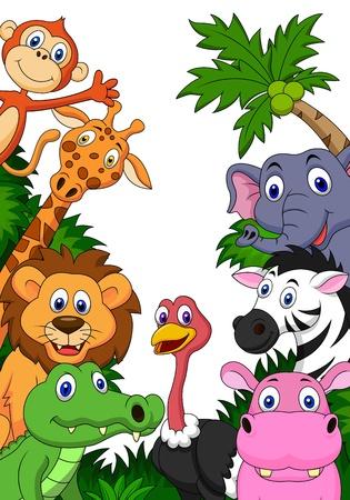 animaux zoo: Safari fond de bande dessinée animale Illustration
