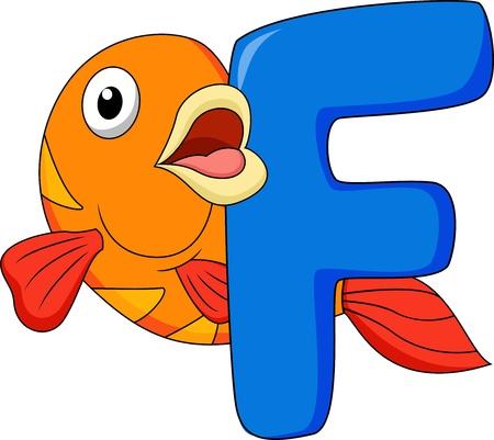 school of fish: Alphabet F with fish