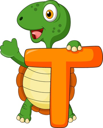 Alphabet T with turtle Illustration