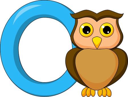 animal alphabet: Alphabet O with owl