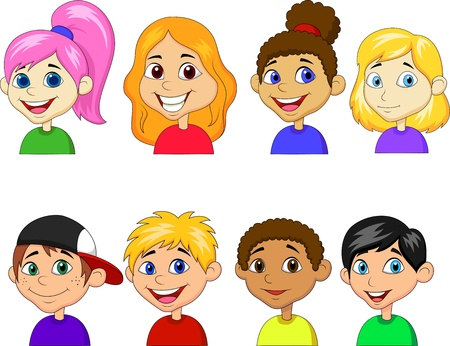 teenagers group: Boy and girl cartoon collection set