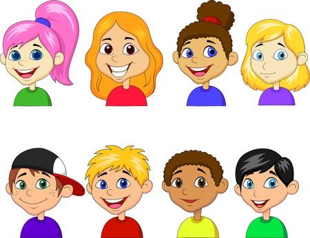 jovenes en grupo: Ni�o y ni�a de dibujos animados conjunto de recopilaci�n Vectores