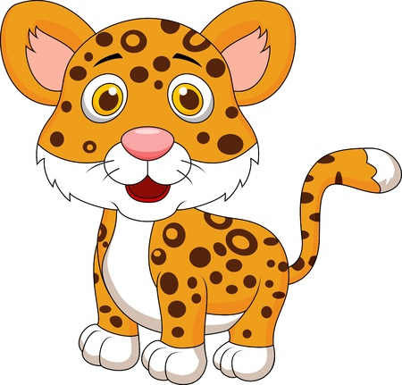 undomesticated animals: Cute baby jaguar cartoon