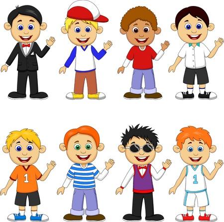 waving hand: Boy cartoon collection set Illustration
