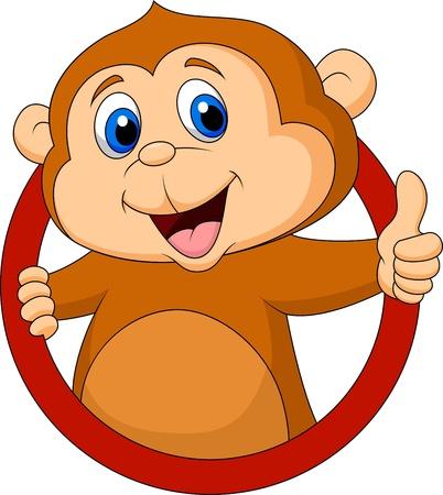Cute dibujos animados mono pulgar arriba