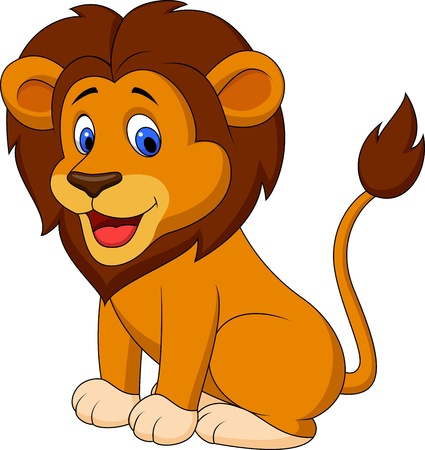 animal fauna: Funny lion cartoon Illustration