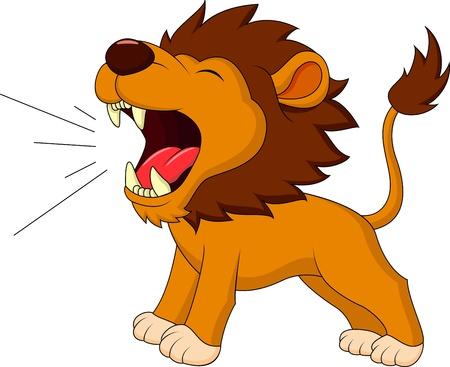 feroz: Leão que ruge desenhos animados Ilustra��o