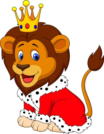 royal person: Cartoon lion in king outfit
