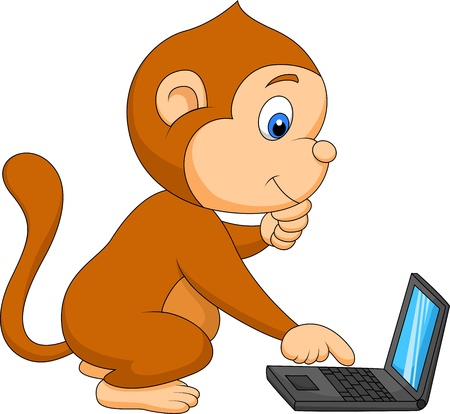 Cute monkey cartoon playing computer Vector