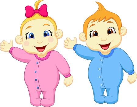 niñas gemelas: Bebé y niña de dibujos animados agitando la mano