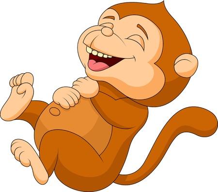 singes: Bande dessin�e mignonne de singe rire