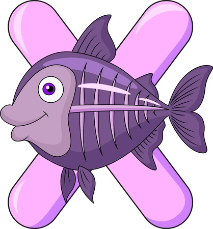 Alphabet X with X ray fish Vector