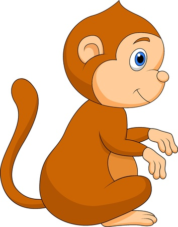 Cute monkey cartoon sitting Vector