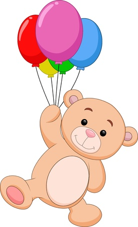 Cute bear cartoon with balloon Illustration